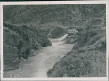 New Zealand, Power Station on the Clutha River  Vintage silver print.  Tirage