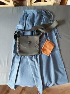 English Civil War ladies skirt costume, black leather bag and tan pouch
