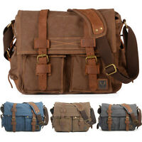 Vintage DSLR Canon Nikon Sony Camera Shoulder Bag Padded Insert Messenger Bag
