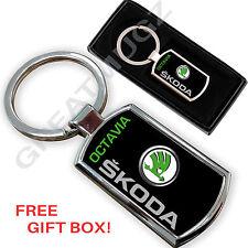 SKODA OKTAVIA CAR KEYRING KEY CHAIN RING FOB CHROME METAL NEW