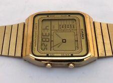 Vintage Hard to Find CASIO AE-80G Digital Watch - Gold - Runs - NR