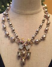**SALE**Vintage Miriam Haskell Glass pearl rheinstone Necklace! Signed, RARE!!