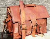 Vintage Leather Briefcase CrossBody Laptop Satchel School Shoulder Messenger Bag
