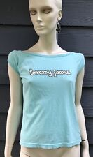 Tommy Hilfiger Jeans Womens T-shirt Blue White Jewelled Short Sleeve Sz L NWT