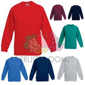 Fruit of the Loom Childrens Kids Boys Girls Sweatshirt School Uniform Jumper