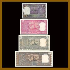 India 1 2 5 10 Rupees (4 Pcs Set), 1969-1970 P-66-69 Gandhi Birth Pinholes Unc