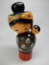 "Japanese Sosaku Kokeshi Mother Baby Oshin Lullaby Wood doll Hajime Miyashita H6"""