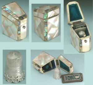 Antique Mother of Pearl Thimble / Needle Box * English Sterling Thimble * C1850