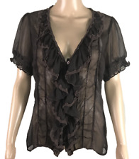 CHARLOTTE RUSSE | Women's Sheer Ruffle Blouse Top | Button Up | Brown | Size L