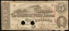 1863 $5 Dollar Bill Confederate States Currency Civil War Note Paper Money T-60