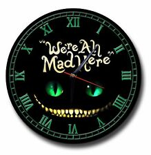 WE'RE ALL MAD HERE 250MM DIAMETER CLOCK,ALICE IN WONDERLAND,MAD HATTER,TIME