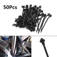 50x Universal 11mm Black Cable Car Trailer Zip Ties Wrap Push Rivets Clip Wiring