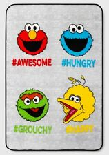 New Sesame Street Plush Fleece Throw GIFT Blanket Elmo Oscar Cookie Monster SOFT