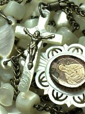 """† BLESSED ANTIQUE HAND CARVED MOTHER OF PEARL """"SCAPULAR"""" MEDAL & ROSARY & CASE †"""