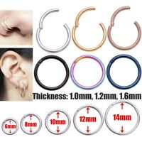 Surgical Steel Nose Ring Septum Clicker Hinge Segment Ear Helix Tragus Ring Hoop