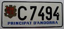 "Nummernschild aus Andorra ""PRINCIPAT D´ANDORRA"" mit Wappen. S-8465."