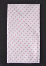 POCKET SQUARE White w/ Pink Polka Dot Flat Top -folded & Sewn