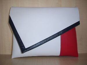 EXTRA LARGE NAVY BLUE, RED & WHITE asymmetrical faux  leather clutch bag BN