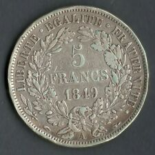 ECU / MONNAIE DE 5 FRANCS CERES ARGENT 1849 A ( PARIS ) @ FRENCH SILVER COINS N2