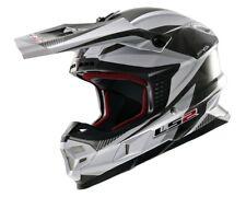 LS2 Casque Cross Mx 456 Quarz Mx Enduro Motocross Casque Blanc et Noir L