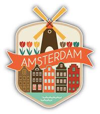 """Amsterdam City Netherlands Travel Emblem Car Bumper Sticker Decal 4"""" x 5"""""""