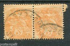FRANCE 1900, VARIETE PIQUAGE timbre 109e  BLANC, PAPIER GC, oblitéré, VF VARIETY