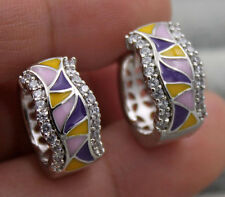 18K White Gold Filled - Wave Geometry Ruby Topaz Wedding Hoop Oil Paint Earrings