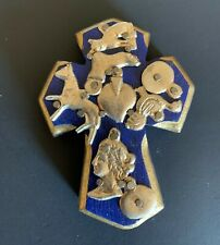 Carved Traditional Wooden Cross with Milagros, Small 23196