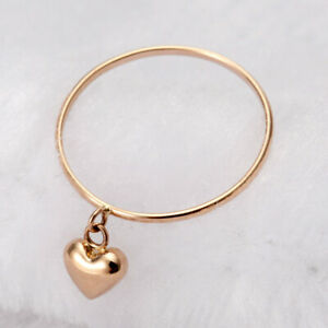 Au750 Solid 18K Rose Gold Ring Heart Shaped Smooth Ring US7 For Woman
