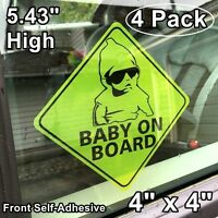 4 Baby On Board Vehicle Car Window Safety Warning Security Vinyl Sticker Decals