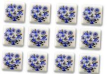 """New Reutter Porzellan dolls house miniature 13mm 1/2"""" blue onion tile set of 12"""