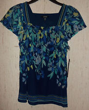 NWT WOMENS / JUNIORS APT. 9 DRESSY LINED NAVY BLUE W/ FLORAL KNIT TOP  SIZE PXS
