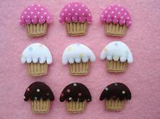 60 Pink Brown White Cupcake Cotton Polka Dot/Felt Applique/Trim/Fabric/Cake H250