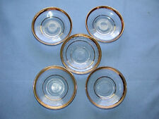 Five Vintage Turkey Pasabahce Gold Rim Glass Bowls