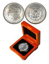 SILVER MORGAN DOLLAR IN OAK WOOD GIFT BOX + COA NICE SCARCE SILVER COIN -UNC -AU