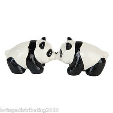 Ceramic Panda Bear Salt and Pepper Shaker Zoo Animals Magnetic S&P Wild Life