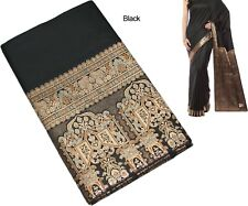 India Handloom Resham & Zari Work Art Silk Rich Pallu Saree Sari Black
