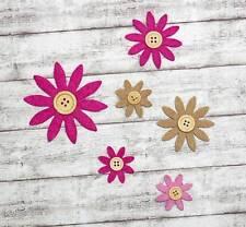 6 Blüten mit Knopf Filzblüten Filzblumen Filz Blumen Streudeko Streuteile B3-27