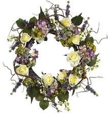 Nearly Natural 4673 Hydrangea Rose Wreath- 24-Inch- Mixed