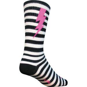 SockGuy Lightning Wool Cycling Socks Black/White Large/XL