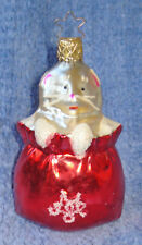 1987 Merck Family'S Old World Christmas Ornament #1204 Cat In Red Bag-Star Crown