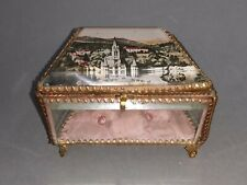 ancienne boite à bijoux / coffret souvenir de forme Trapézoïdale Verre biseauté