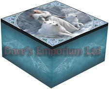 Winter Guardians Mirror Box - Anne Stokes - Trinket Jewellery White Wolf Wolves