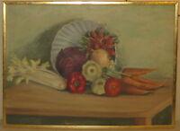 Vintage 1935 HARRIETTE G MILLER 'On the KITCHEN TABLE' Still Life OIL Painting