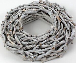 Kranz aus Zweigen D=50cm Vintage weiss gewischt rund Wurzelkranz Türkranz Wand