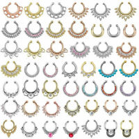 Nose Piercing Fake Septum Nose Ring Piercing Clip On Body Jewelry Faux Hoop Ring