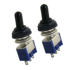 2Pcs 125V 6A ON/OFF/ON 3 Position SPDT Toggle Switch w Waterproof Cover Cap