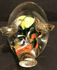 Vintage Lenwile Art Glass Pig Paperweight HandBlown Unmarked