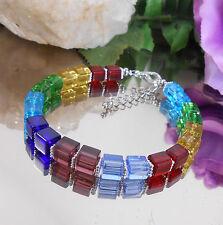 Design Würfel Armband 6 mm Glas Würfel Regenbogen Bunt