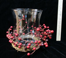 Glass Vase Pillar Candle Holder w/ Red Berry Vine Wreath Ring Attached